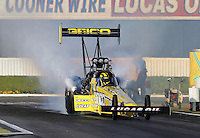 Feb. 14, 2013; Pomona, CA, USA; NHRA top fuel dragster driver Morgan Lucas during qualifying for the Winternationals at Auto Club Raceway at Pomona.. Mandatory Credit: Mark J. Rebilas-