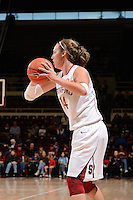 STANFORD, CA - NOVEMBER 26: Kayla Pedersen of Stanford women's basketball surveys her options in a game against South Carolina on November 26, 2010 at Maples Pavilion in Stanford, California.  Stanford topped South Carolina, 70-32.
