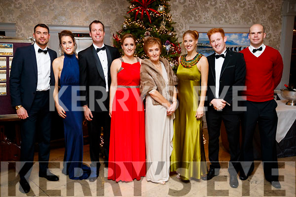 Adam Carter, Patrice McGillicuddy, Peter West, Marie McGillicuddy, Patricia McGillicuddy, Ellen Mcgillicuddy, Tom McGillycuddy and Richie Lynch, Killorglin at the Black Tie ball at the Rose Hotel, Tralee on New Years Eve.
