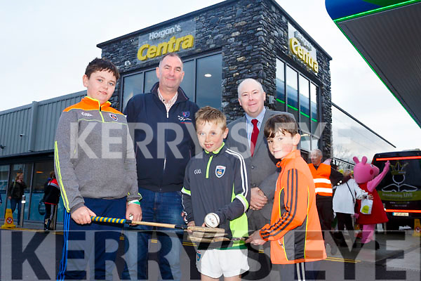 Horgans Centra Ardfert Official Opening Pictured Christopher Ross, Liam Cooper, Eoin Costello, Back l-r Liam Ross and John Powell, Centra