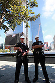 Two days before the 10th anniversary of the 9/11 attacks, September 9, 2011, security was heavy in front of the Freedom Tower at the World Trade Center site in New York, New York..Credit: Sipa Press via CNP