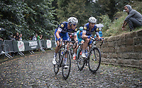 Niki Terpstra (NED/Etixx-QuickStep) & Tony Martin (DEU/Etixx-QuickStep) charging up the infamous Kapelmuur (Muur van Geraardsbergen) in the rain<br /> <br /> 12th Eneco Tour 2016 (UCI World Tour)<br /> Stage 7: Bornem › Geraardsbergen (198km)