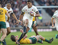 Twickenham, United Kingdom. Natham HUGHES, breaking through the field in his first start for England, during the Old Mutual Wealth Series Rest Match: England vs Australia, at the RFU Stadium, Twickenham, England, <br /> <br /> Saturday  03/12/2016<br /> <br /> [Mandatory Credit; Peter Spurrier/Intersport-images]