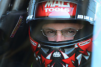 May 19, 2012; Topeka, KS, USA: NHRA top fuel dragster driver Doug Kalitta during qualifying for the Summer Nationals at Heartland Park Topeka. Mandatory Credit: Mark J. Rebilas-