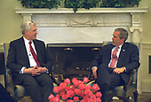 United States President George W. Bush meets with former US Senator John Danforth (Republican of Missouri), Special Presidential Envoy for Peace to Sudan, Monday morning, May 20, 2002 in the Oval Office of the White House in Washington, DC.<br /> Mandatory Credit: Eric Draper / White House via CNP