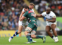 Dom Barrow of Leicester Tigers is tackled by Rhys Priestland of Bath Rugby. Aviva Premiership match, between Leicester Tigers and Bath Rugby on September 3, 2017 at Welford Road in Leicester, England. Photo by: Patrick Khachfe / Onside Images