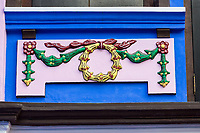 Singapore.  Emerald Hill Road. Decoration on Early Twentieth Century Traditional Chinese House.