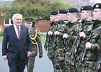 04/04/2008.An Taoiseach Bertie Ahern, TD inspecting members of the army during a meeting with Lieutenant General Pat Nash, the Operational Commander of EUFOR Chad Mission at McKee Barracks, Blackhorse Ave, Dublin..Photo: Gareth Chaney Collins