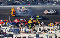 Oct 5, 2008; Talladega, AL, USA; NASCAR Sprint Cup Series driver Jimmie Johnson (48) goes low to avoid Greg Biffle (16), Matt Kenseth (17) and Dale Earnhardt Jr (88) as they crash during a multi-car accident during the Amp Energy 500 at the Talladega Superspeedway. Mandatory Credit: Mark J. Rebilas-