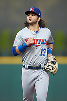 Buffalo Bisons shortstop Bo Bichette (13) jogs off the field between innings of the game against the Caballeros de Charlotte at BB&T BallPark on July 23, 2019 in Charlotte, North Carolina. The Bisons defeated the Caballeros 8-1. (Brian Westerholt/Four Seam Images)