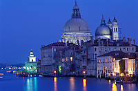Italy, Venice, The Grand Canal and Santa Maria della Salute at dusk