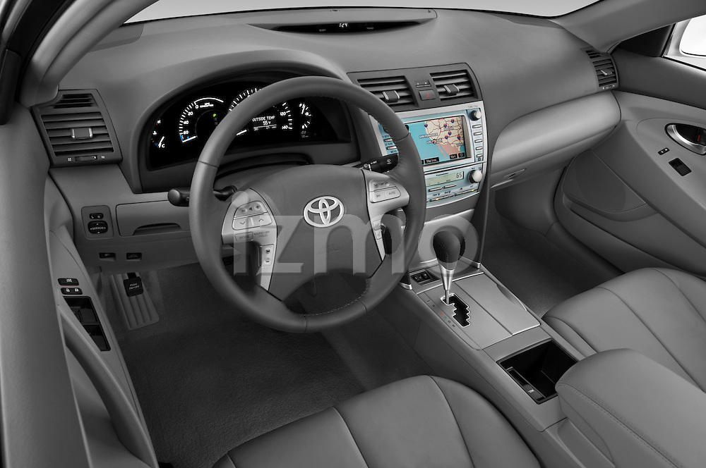 High angle dashboard view of a 2009 Toyota Camry Hybrid