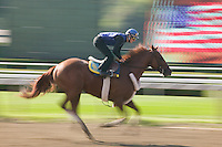 Jockey Julien Leparoux takes a horse for a morning practice ride on the main race track at Saratoga Springs, NY, United States, 5 August 2006.