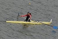 "Seville. SPAIN, 17.02.2007, TUN LW1X Rihab OUERGHI, clears the ""Puente de la Barqueta"" [bridge] during Saturdays heats, of the FISA Team Cup, held on the River Guadalquiver course. [Photo Peter Spurrier/Intersport Images]    [Mandatory Credit, Peter Spurier/ Intersport Images]. , Rowing Course: Rio Guadalquiver Rowing Course, Seville, SPAIN,"