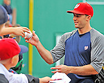 8 June 2012: Washington Nationals fielder Stephen Lombardozzi signs autographs prior to a game against the Boston Red Sox at Fenway Park in Boston, MA. The Nationals defeated the Red Sox 7-4 in the opening game of their 3-game series. Mandatory Credit: Ed Wolfstein Photo