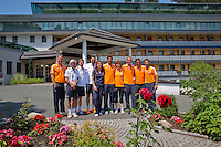 Austria, Kitzbuhel, Juli 16, 2015, Tennis, Davis Cup, Draw, Dutch team in front of the Hotel<br /> Photo: Tennisimages/Henk Koster