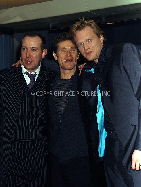(L to R) Paul McGuigan(Director), Willem Dafoe, Paul Bettany at the premiere of 'The Reckoning.' New York, March 3, 2004. Please byline: AJ SOKALNER/ACE Pictures.   ..*PAY-PER-USE*      ....IMPORTANT: Please note that our old trade name, NEW YORK PHOTO PRESS (NYPP), is replaced by new name, ACE PICTURES. New York Photo Press and ACE Pictures are owned by All Celebrity Entertainment, Inc.......All Celebrity Entertainment, Inc:  ..contact: Alecsey Boldeskul (646) 267-6913 ..Philip Vaughan (646) 769-0430..e-mail: info@nyphotopress.com