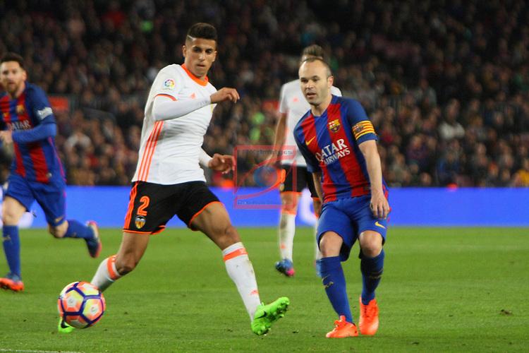 League Santander 2016/2017. Game: 28.<br /> FC Barcelona vs Valencia CF: 4-2.<br /> Joao Cancelo vs Andres Iniesta.
