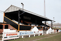 The main stand at Crook Town AFC Football Ground, Millfield Ground, Crook, County Durham, pictured on 7th April 1996