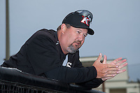 Kannapolis Intimidators pitching coach Brian Drahman (45) talks to his pitching staff at Kannapolis Intimidators Stadium on April 6, 2016 in Kannapolis, North Carolina.  (Brian Westerholt/Four Seam Images)
