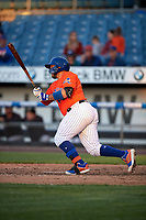 Syracuse Mets Rene Rivera (44) at bat during an International League game against the Charlotte Knights on June 11, 2019 at NBT Bank Stadium in Syracuse, New York.  Syracuse defeated Charlotte 15-8.  (Mike Janes/Four Seam Images)
