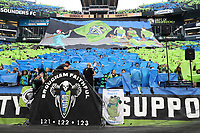 SEATTLE, WA - NOVEMBER 10: Seattle Sounders FC supporters raise a large tifo banner during a game between Toronto FC and Seattle Sounders FC at CenturyLink Field on November 10, 2019 in Seattle, Washington.