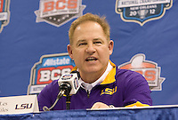 LSU head coach Les Miles talks with the reporters during BCS Media Day at Mercedes-Benz Superdome in New Orleans, Louisiana on January 6th, 2012.