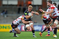 Max Northcote-Green of Bath Rugby takes on the Gloucester defence. West Country Challenge Cup match, between Gloucester Rugby and Bath Rugby on September 13, 2015 at the Memorial Stadium in Bristol, England. Photo by: Patrick Khachfe / Onside Images