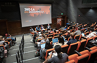"""Third L.A. presents Amnesiac City: Bolstering Civic Memory in Los Angeles""<br /> Now in its fourth year, Occidental College's thought-provoking 3rd LA series returns. How should L.A., so often caricatured as a city of the future, engage more actively with its past and the broader notion of civic memory?<br /> The panel will explore the intersection of architecture, monuments, cultural identity and the histories of place.<br /> Host Christopher Hawthorne, Oxy professor of practice and chief design officer for the city of L.A., will be joined by, seated from left: Wajenda Chambeshi, the program manager for the Great Streets Initiative in the Mayor's Office of City Services; LA Times columnist Frank Shyong; Gail Kennard, president of Kennard Design Group (KDG), the oldest African-American- owned architectural practice in the West and vice-president of the Los Angeles Cultural Heritage Commission. Stella Ramos '20, organizer of the Indigenous Student Association at Oxy also participated although not on the panel.<br /> Nov. 5, 2019 in Choi Auditorium.<br /> (Photo by Marc Campos, Occidental College Photographer)"