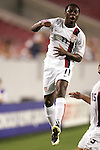 11 March 2008: Freddy Adu (USA) (11) celebrates his first half goal. The United States U-23 Men's National Team tied the Cuba U-23 Men's National Team 1-1 at Raymond James Stadium in Tampa, FL in a Group A game during the 2008 CONCACAF's Men's Olympic Qualifying Tournament.