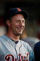 Max Scherzer #37 of the Detroit Tigers watches a game against the Los Angeles Angels at Angel Stadium on April 19, 2013 in Anaheim, California. (Larry Goren/Four Seam Images)