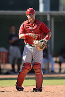 Los Angels Angels of Anaheim catcher Ryan Dalton (56) during an instructional league game against the Colorado Rockies on September 30, 2013 at Tempe Diablo Stadium Complex in Tempe, Arizona.  (Mike Janes/Four Seam Images)