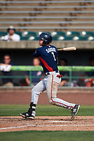 Potomac Nationals first baseman Ian Sagdal (1) follows through on a swing during the first game of a doubleheader against the Lynchburg Hillcats on June 9, 2018 at Calvin Falwell Field in Lynchburg, Virginia.  Lynchburg defeated Potomac 5-3.  (Mike Janes/Four Seam Images)