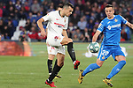 Getafe CF's Nemanja Maksimovic (r) and Sevilla FC's Sergio Reguilon during La Liga match. February 23,2020. (ALTERPHOTOS/Acero)