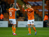 Blackpool's Kiernan Dewsbury-Hall celebrates scoring his side's first goal with Jay Spearing<br /> <br /> Photographer Alex Dodd/CameraSport<br /> <br /> The EFL Sky Bet League One - Blackpool v Tranmere Rovers - Tuesday 10th March 2020 - Bloomfield Road - Blackpool<br /> <br /> World Copyright © 2020 CameraSport. All rights reserved. 43 Linden Ave. Countesthorpe. Leicester. England. LE8 5PG - Tel: +44 (0) 116 277 4147 - admin@camerasport.com - www.camerasport.com