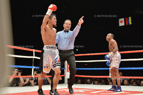 Kohei Kono (JPN), Liborio Solis (VEN),<br /> MAY 6, 2013 - Boxing :<br /> Kohei Kono of Japan celebrates as he is led to a neutral corner by referee Luis Pabon after knocking down Liborio Solis of Venezuela in the second round during the WBA super flyweight title bout at Ota-City General Gymnasium in Tokyo, Japan. (Photo by Hiroaki Yamaguchi/AFLO)