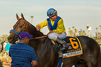 "ARCADIA, CA. SEPTEMBER 30: #6 Mubtaahij, ridden by Drayden Van Dyke,wins the Awesome Again Stakes (Grade l) ""Win and You're In Classic Division"" on September 30, 2017 at Santa Anita Park in Arcadia, CA.Photo by Casey Phillips/Eclipse Sportswire/Getty Images)"