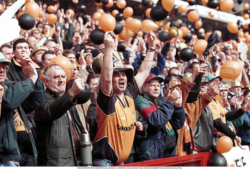 WOLVERHAMPTON WANDERERS Fans, Arsenal 1 v WOLVES 0, FA Cup Semi-Final, Villa Park 980405 Photo:Glyl Kirk/Action Plus...1998.Soccer.crowd.crowds.supporters.fans.spectators.football