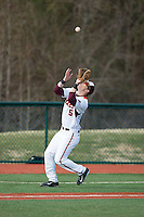 Virginia Tech Hokies third baseman Erik Payne (5) catches a pop fly in foul territory during the game against the Toledo Rockets at The Ripken Experience on February 28, 2015 in Myrtle Beach, South Carolina.  The Hokies defeated the Rockets 1-0 in 10 innings.  (Brian Westerholt/Four Seam Images)