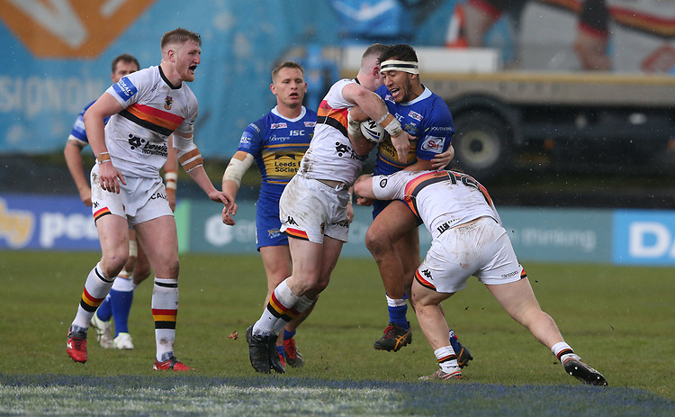 Leeds Rhinos'  Nathaniel Peteru is tackled by Bradford Bulls' Sam Hallas and Connor Farrell <br /> <br /> Photographer Stephen White/CameraSport<br /> <br /> Rugby League - Coral Challenge Cup Sixth Round - Bradford Bulls v Leeds Rhinos - Saturday 11th May 2019 - Provident Stadium - Bradford<br /> <br /> World Copyright © 2019 CameraSport. All rights reserved. 43 Linden Ave. Countesthorpe. Leicester. England. LE8 5PG - Tel: +44 (0 116 277 4147 - admin@camerasport.com - www.camerasport.com