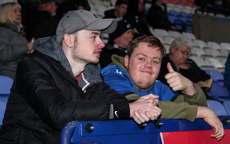 Bolton Wanderers' supporters<br /> <br /> Photographer Andrew Kearns/CameraSport<br /> <br /> The EFL Sky Bet Championship - Bolton Wanderers v Middlesbrough -Tuesday 9th April 2019 - University of Bolton Stadium - Bolton<br /> <br /> World Copyright © 2019 CameraSport. All rights reserved. 43 Linden Ave. Countesthorpe. Leicester. England. LE8 5PG - Tel: +44 (0) 116 277 4147 - admin@camerasport.com - www.camerasport.com