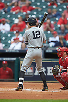 Connor Kaiser (12) of the Vanderbilt Commodores at bat against the Louisiana Ragin' Cajuns in game five of the 2018 Shriners Hospitals for Children College Classic at Minute Maid Park on March 3, 2018 in Houston, Texas.  The Ragin' Cajuns defeated the Commodores 3-0.  (Brian Westerholt/Four Seam Images)