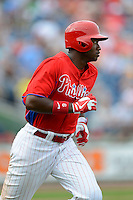 Philadelphia Phillies outfielder Domonic Brown #9 during a Spring Training game against the New York Yankees at Bright House Field on February 26, 2013 in Clearwater, Florida.  Philadelphia defeated New York 4-3.  (Mike Janes/Four Seam Images)