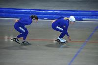SCHAATSEN: HEERENVEEN: 17-06-2014, IJsstadion Thialf, Zomerijs training, Yvonne Nauta,, Ireen Wust, ©foto Martin de Jong