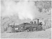 RGS K-27 #461 with caboose #0400 at Coke Ovens.<br /> RGS  Coke Ovens, CO  Taken by Richardson, Robert W. - 9/26/1951