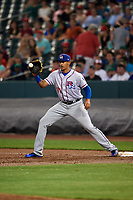 Round Rock Express first baseman Ronald Guzman (31) waits to receive a throw during a game against the Memphis Redbirds on April 28, 2017 at AutoZone Park in Memphis, Tennessee.  Memphis defeated Round Rock 9-1.  (Mike Janes/Four Seam Images)