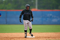 GCL Marlins Omar Lebron (30) celebrates after hitting a double during a Gulf Coast League game against the GCL Mets on August 11, 2019 at St. Lucie Sports Complex in St. Lucie, Florida.  The Marlins defeated the Mets 3-2 in the second game of a doubleheader.  (Mike Janes/Four Seam Images)