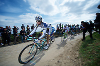 Paris-Roubaix 2012 ..Bert Jan Lindeman was the first man of the lead-group over the cobbles