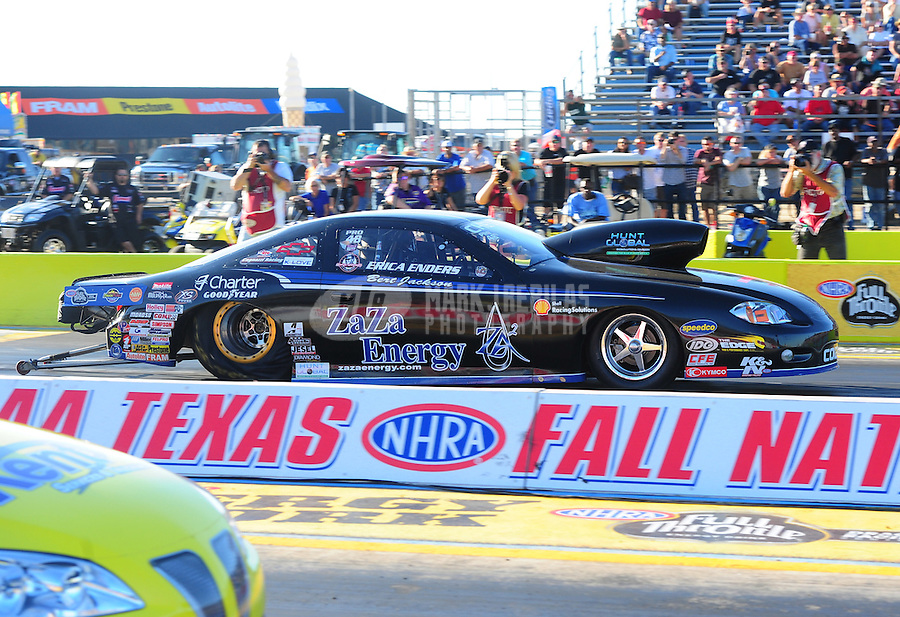 Sept. 23, 2011; Ennis, TX, USA: NHRA pro stock driver Erica Enders during qualifying for the Fall Nationals at the Texas Motorplex. Mandatory Credit: Mark J. Rebilas-