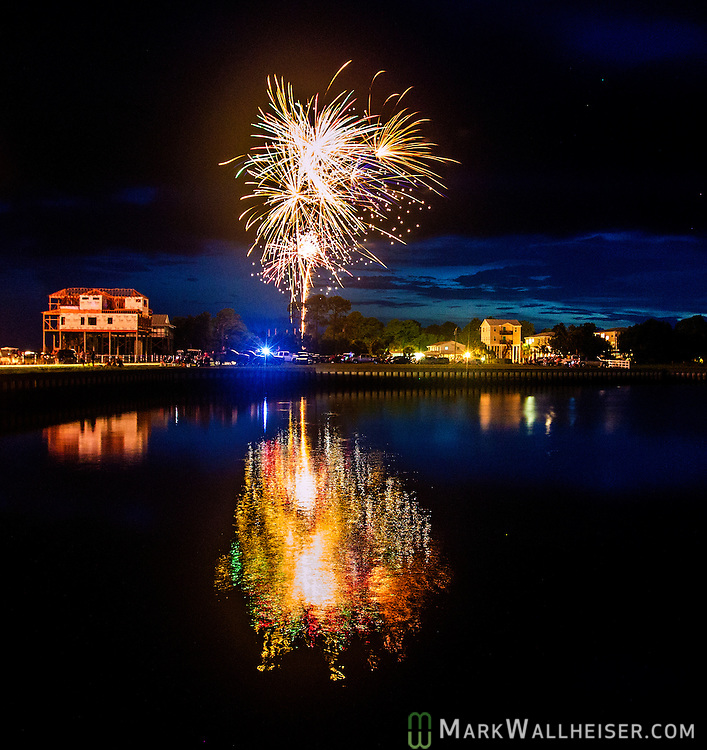 4th of July fireworks over the boat basin at Shell Point in Wakulla County, Florida along the forgotten coast area of the Florida panhandle.